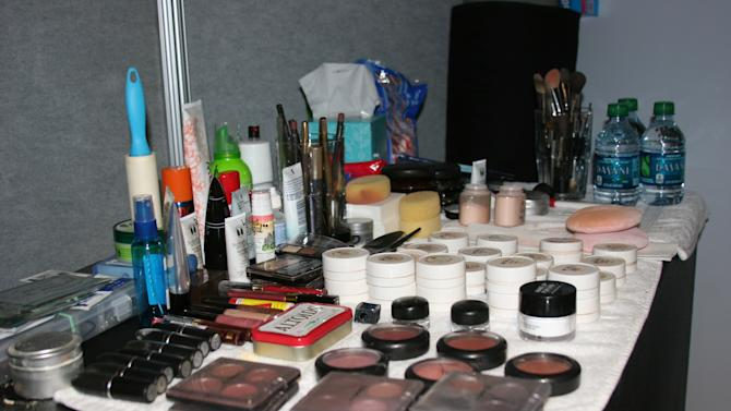 The makeup department at our media booth in the forum for the Republican National Convention, Wednesday Aug. 29, 2012. (Torrey AndersonSchoepe/Yahoo! News)