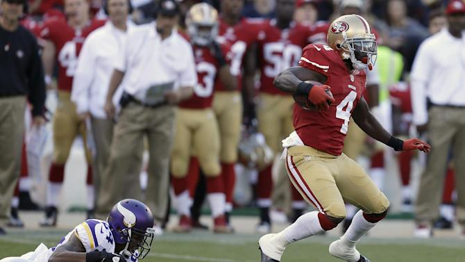San Francisco 49ers' Lavelle Hawkins (4) runs past Minnesota Vikings cornerback A.J. Jefferson (24) to score on a 105-yard kickoff return during the second quarter of an NFL preseason football game, Sunday, Aug. 25, 2013, in San Francisco. (AP Photo/Ben Margot)