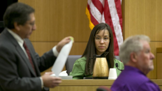 Prosecutor Juan Martinez cross examines Jodi Arias during the Jodi Arias trial at Maricopa County Superior Court in Phoenix on Wednesday, Feb. 27, 2013. Arias is charged in the June 2008 death of her lover in his suburban Phoenix home. She says it was self-defense, but police say she planned the attack on Travis Alexander in a jealous rage. (AP Photo/The Arizona Republic, David Wallace, Pool)
