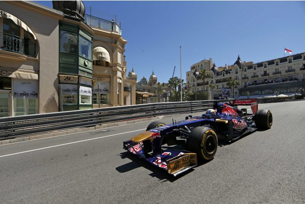 Toro Rosso Formula One driver Jean-Eric Vergne of France drives during the second practice session of the Monaco F1 Grand Prix