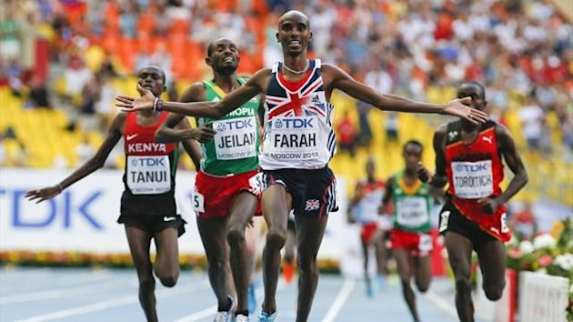 Mo Farah (2R) of Britain finishes first ahead of Paul Kipngetich Tanui of Kenya, Ibrahim Jeilan of Ethiopia and Timothy Toroitich of Uganda (L-R) in the men's 10,000 metres final during the IAAF World Championships in Moscow (Reuters)