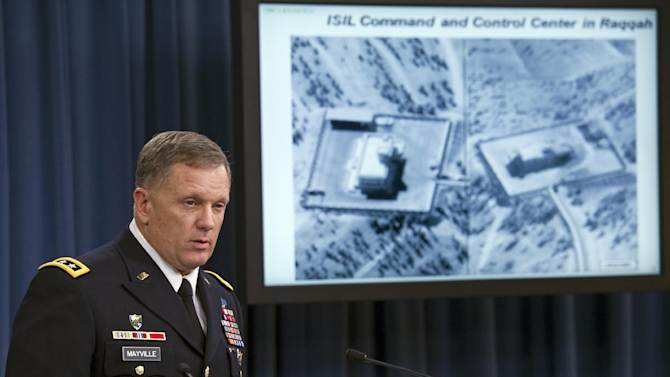"Army Lt. Gen. William Mayville, Jr., Director of Operations J3, speaks about the operations in Syria, Tuesday, Sept. 23, 2014, during a news conference at the Pentagon. In a separate action from the air strikes against the Islamic State group, the U.S. bombed a cell of al Qaida militants in northwestern Syria after concluding they were close to attacking the U.S. or Europe, Pentagon officials say. Mayville, the Pentagon's operations chief, said that the Khorasan Group was nearing ""the execution phase of an attack either in Europe or the homeland."" (AP Photo/Cliff Owen)"