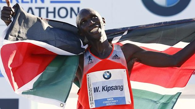 Wilson Kipsang of Kenya reacts after winning in the 40th Berlin marathon
