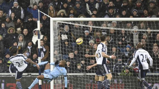 Manchester City's Fernando shoots to score a goal from an overhead kick during their English Premier League soccer match against West Bromwich Albion at The Hawthorns in West Bromwich