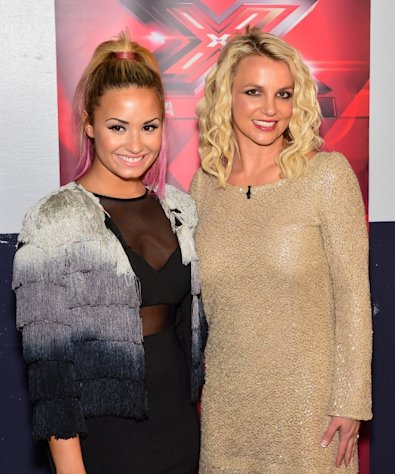 Demi Lovato and Britney Spears are seen at &#39;The X Factor&#39; auditions at Oracle Arena in Oakland, Calif. on June 16, 2012
