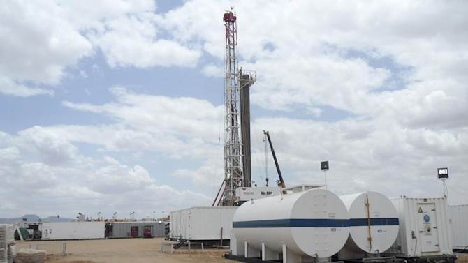 A general view shows an oil rig used in drilling at the Ngamia-1 well in the Lokichar basin, which is part of the East African Rift System, in Turkana County