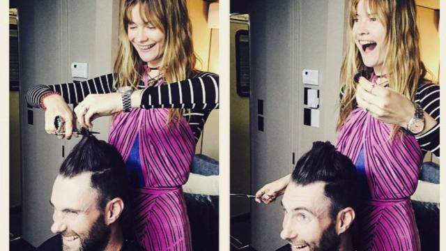 Adam Levine's Supermodel Wife Gives Him a Haircut -- See the Results!