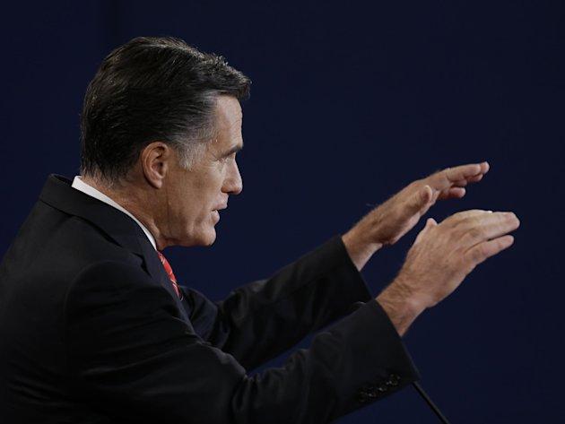 Republican presidential nominee Mitt Romney speaks during the first presidential debate with President Barack Obama at the University of Denver, Wednesday, Oct. 3, 2012, in Denver. (AP Photo/David Gol