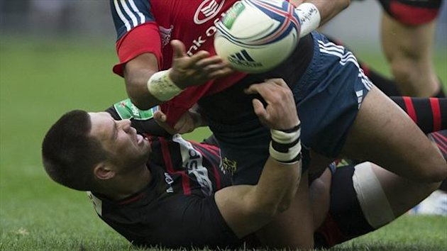 Cornell du Preez, bottom, was sin-binned for the incident