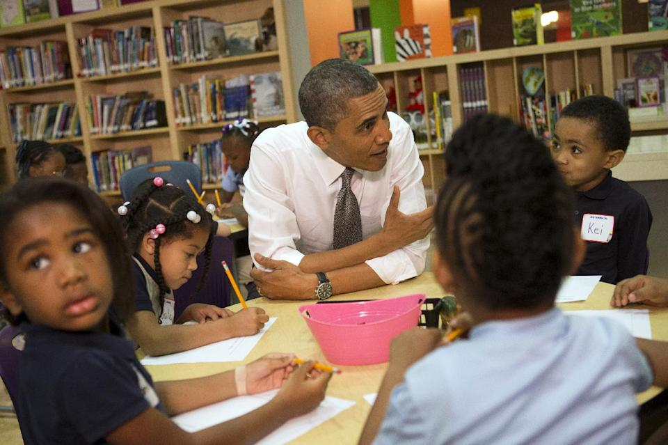 "President Barack Obama talks to a class of pre-Kindergarten school children at Moravia Park Elementary School in Baltimore, Md., Friday, May 17, 2013, during the his second ""Middle Class Jobs and Opportunity Tour"". (AP Photo/Jacquelyn Martin)"