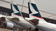 Tails of Cathay Pacific planes at their gates at Hong Kong International Airport. Hong Kong airline Cathay Pacific has ordered 10 of the future Airbus long-haul A350 planes worth $3.2 billion (2.6 billion euros), the firms announced on Tuesday
