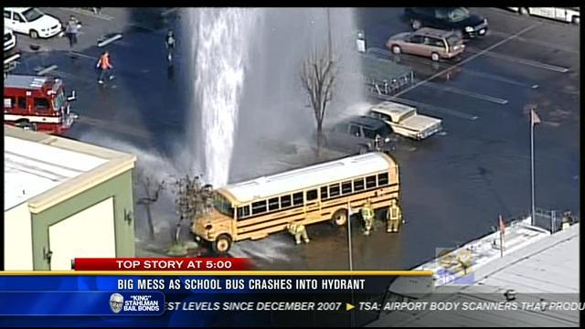 Big mess as school bus crashes into hydrant in Lakeside
