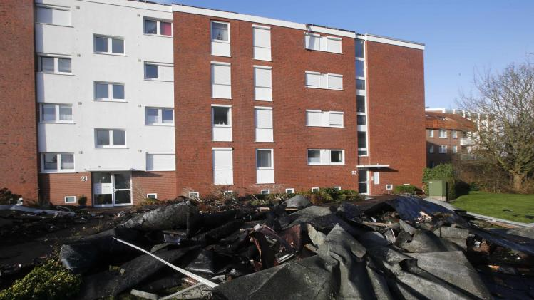 The rooftop of a building blown away by a storm is pictured in the coastal town of Cuxhaven