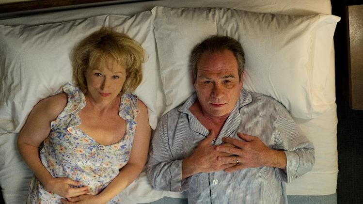 "This film image released by Columbia Pictures shows Meryl Streep as Kay Soames, left, and Tommy Lee Jones as Arnold Soames in a scene from ""Hope Springs."" (AP Photo/Columbia Pictures-Sony, Barry Wetcher)"