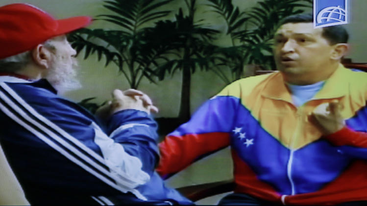 In this frame grab taken from video shown on Cuban state television, Cuba's Fidel Castro, left, speaks with Venezuela's President Hugo Chavez in an unknown location in Havana, Cuba, Tuesday June 28, 2011.  Chavez underwent surgery in Cuba two weeks ago and has been unusually quiet since then.  Allies of Chavez have insisted the leader is firmly in control of the country and improving from his operation for a pelvic abscess. (AP Photo/Cuban state television)