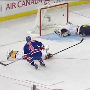 Hall nets rebound to get Oilers on the board