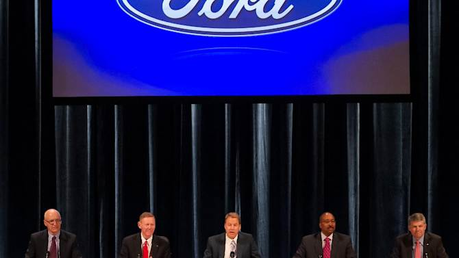 From left, Executive Vice-president and CFO Robert Shanks, Ford President and CEO Alan Mulally, Executive Chairman for Ford Motor Company William Ford, Secretary Bradley Gayton, Group VP and General Counsel David Leitch attend the company's annual shareholders meeting at the Hotel DuPont in Wilmington, Del., Thursday, May 10, 2012. The meeting lasted only 45 minutes, much of it spent with shareholders praising CEO Alan Mulally and Executive Chairman Bill Ford Jr. for the company's turnaround.  (AP Photo/Ron Soliman)
