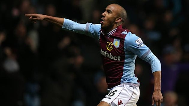 Aston Villa's Fabian Delph celebrates scoring at both ends v WBA