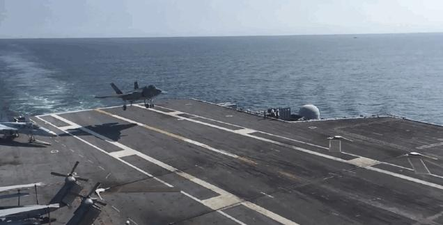 Watch an F-35 land on an aircraft carrier in slow motion