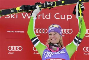 Hoefl-Riesch of Germany celebrates on the podium after winning the women's FIS World Cup Downhill race in Cortina D'Ampezzo