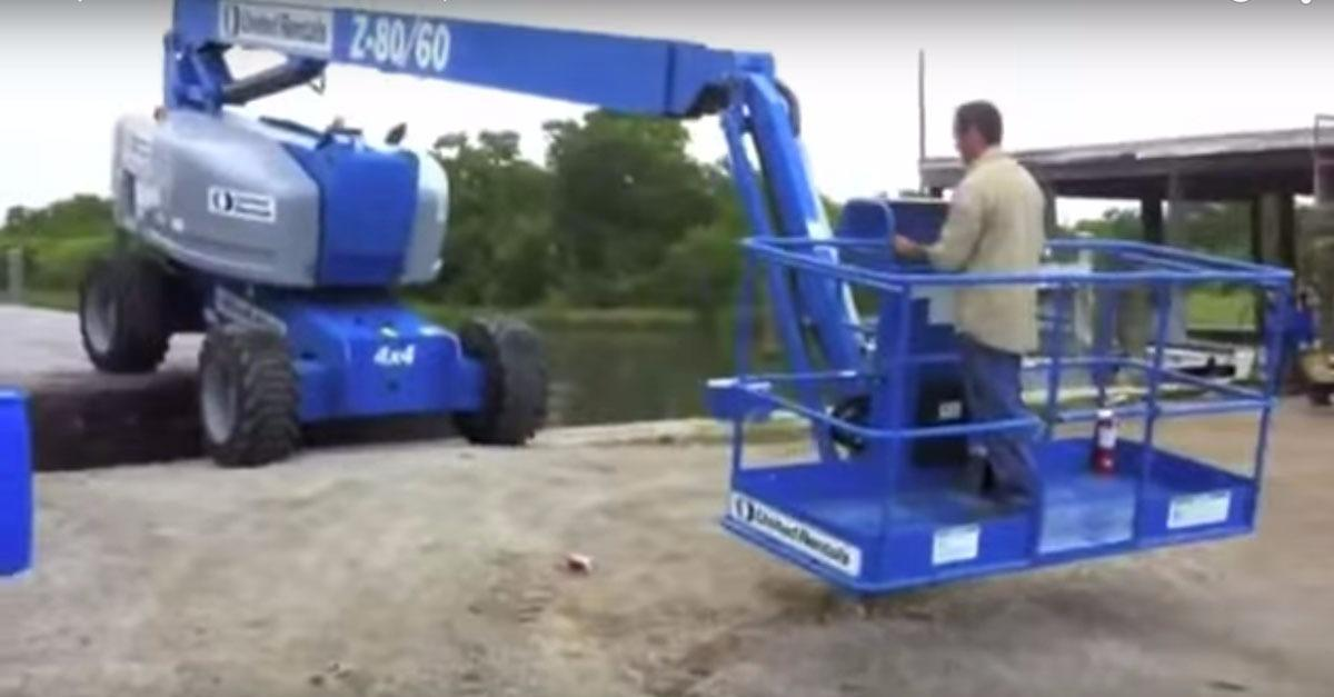 Worker Turns Boom Lift Into Catapult! (Video)