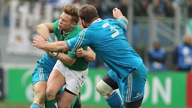 Ian Madigan, left, starred in Ireland's narrow victory