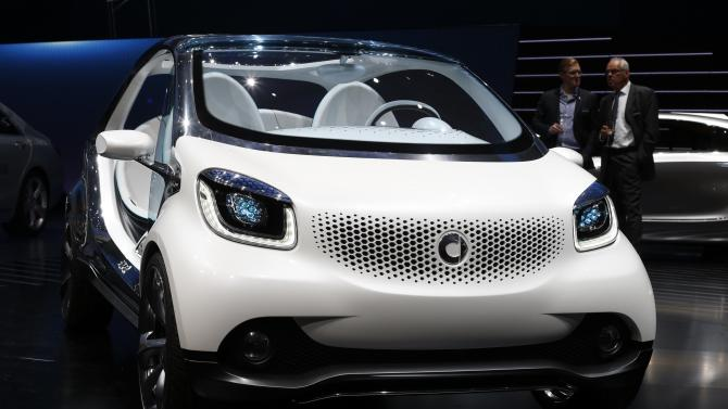 The front view of a Smart Fourjoy prototype is pictured during its world premiere at the Frankfurt motor show