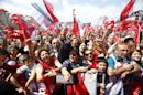 Supporters of Turkey's main opposition Republican People's Party (CHP) leader Kemal Kilicdaroglu attend an election rally for Turkey's June 7 parliamentary election