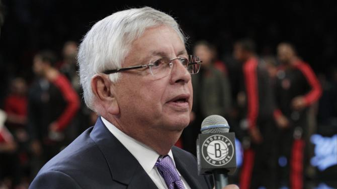 NBA Commissioner David Stern speaks before an NBA basketball game between the Brooklyn Nets and the Toronto Raptors, Saturday, Nov. 3, 2012, in New York. (AP Photo/Frank Franklin II)