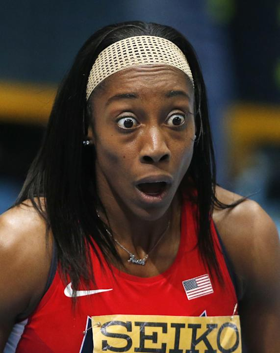 United States' Chanelle Price reacts after winning the women's 800m final during the Athletics World Indoor Championships in Sopot, Poland, Sunday, March 9, 2014