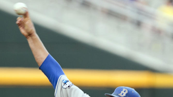 UCLA starting pitcher Nick Vander Tuig delivers against Arizona in the first inning of an NCAA College World Series baseball game in Omaha, Neb., Sunday, June 17, 2012. (AP Photo/Nati Harnik)