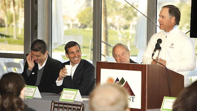 IMAGE DISTRIBUTED FOR HUMANA - PGA TOUR golfer Scott McCarron cracks a joke as (from left) Humana Challenge CEO Bob Marra, Humana President and CEO Bruce Broussard, and Desert Classic Charities President John Foster share a laugh at the Humana Challenge Mayor's Breakfast on Tuesday, Jan. 15, 2013, in La Quinta, Calif. The event was held to celebrate the beginning of Humana Challenge week, and La Quinta Mayor Don Adolph was on hand to welcome tournament guests. The 2013 Humana Challenge is being held January 14-20 at PGA West in La Quinta, Calif (Rodrigo Pena / AP Images for Humana).