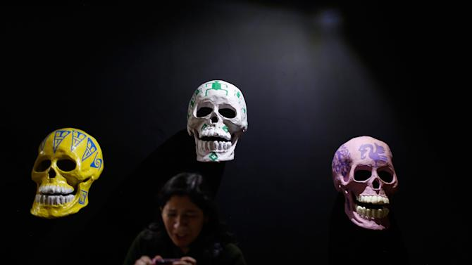 Skulls, which form part of an art installation to celebrate the Day of the Dead, in Zocalo Square, Mexico City