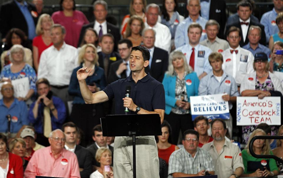 Republican vice presidential candidate, Rep. Paul Ryan, R-Wis., speaks during a campaign event at SMT, Inc. in Raleigh, N.C., Wednesday, Aug. 22, 2012. (AP Photo/Gerry Broome)