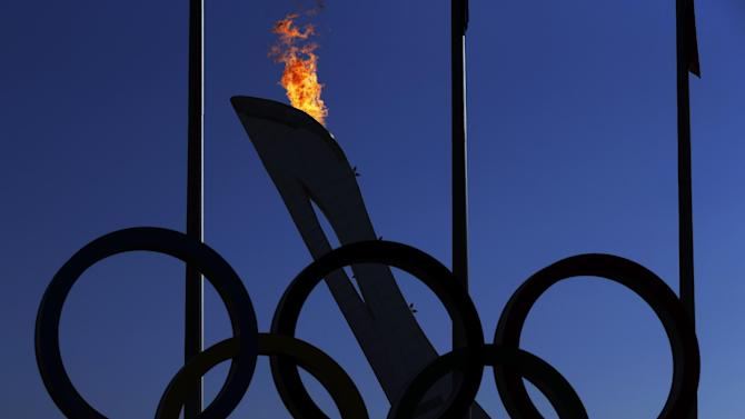 Flame rises from the Olympic Cauldron at the 2014 Winter Olympics, Saturday, Feb. 8, 2014, in Sochi, Russia. (AP Photo/Morry Gash)