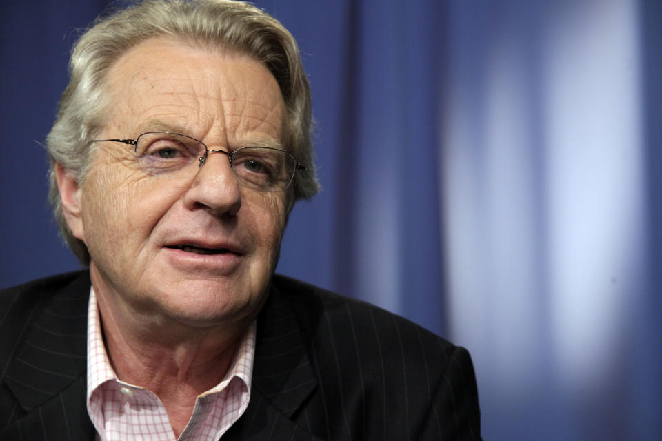 "FILE - This April 15, 2010 file photo shows talk show host Jerry Springer in New York. The Investigation Discovery (ID) channel announced Thursday, April 4, 2013 that Springer will host a weekly series called ""Tabloid"" premiering in 2014.   (AP Photo/Richard Drew, file)"