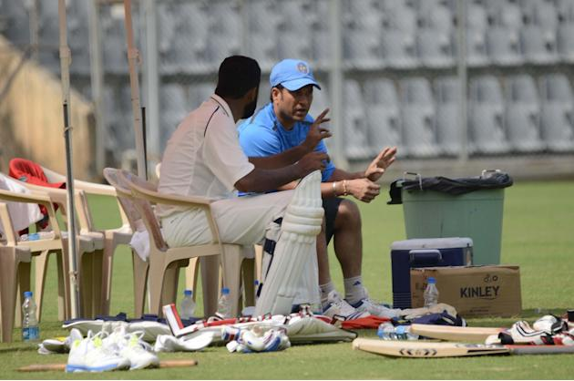 Master Blaster Sachin Tendulkar with Wasim Jaffer during practice session at Wankhede stadium ahead of his last Ranji Trophy match for Mumbai against Haryana in Lahli, Rohtak in Mumbai on Oct.24, 2013