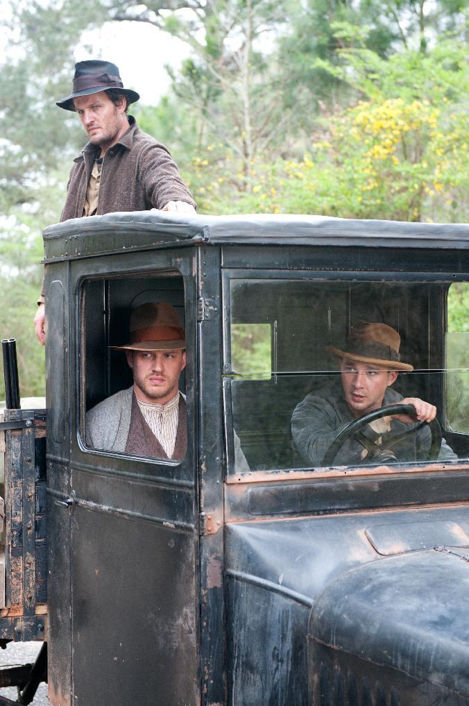 "This film image released by The Weinstein Company shows from left, Jason Clarke, Tom Hardy and Shia LaBeouf in a scene from ""Lawless."" (AP Photo/The Weinstein Company, Richard Foreman, Jr.)"