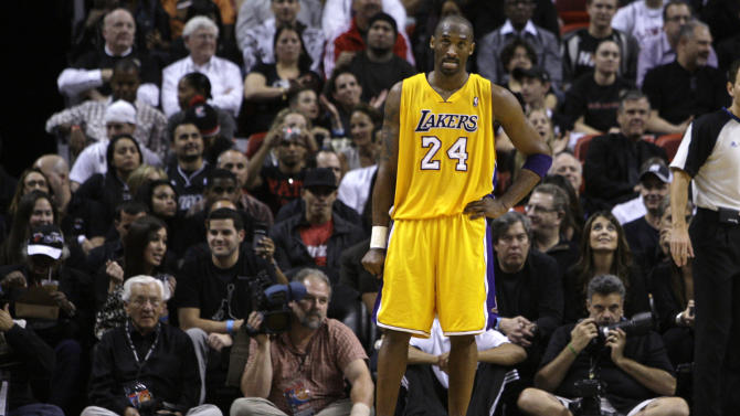 Los Angeles Lakers' Kobe Bryant (24) stands on the court during the closing minutes of the second half of an NBA basketball game against the Miami Heat, Thursday, Jan. 19, 2012, in Miami. The Heat defeated the Lakers 98-87. (AP Photo/Lynne Sladky)