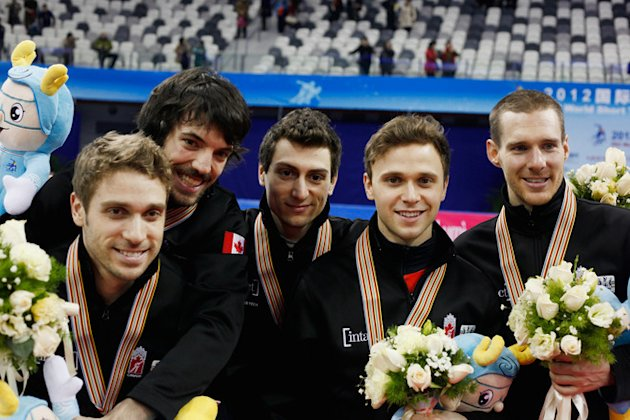 Charles Hamelin, Olivier Jean, Liam Mcfarlane, Francois Louis Tremblsy And Guillaume Bastille Of Canada Pose Getty Images