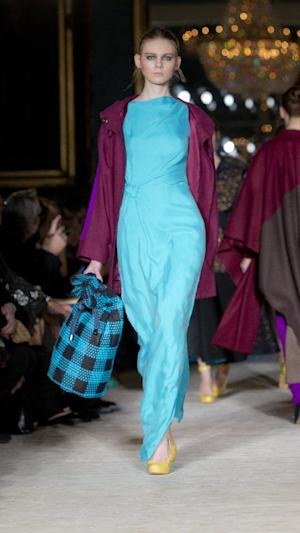 A model wears a creation by designer Roksanda Ilincic during a show at London Fashion Week, Tuesday, Feb. 21, 2012. (AP Photo/Joel Ryan)