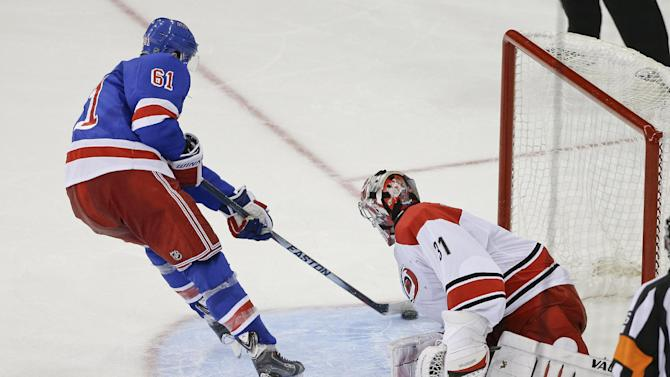 Lundqvist, Nash lift Rangers over Hurricanes in SO