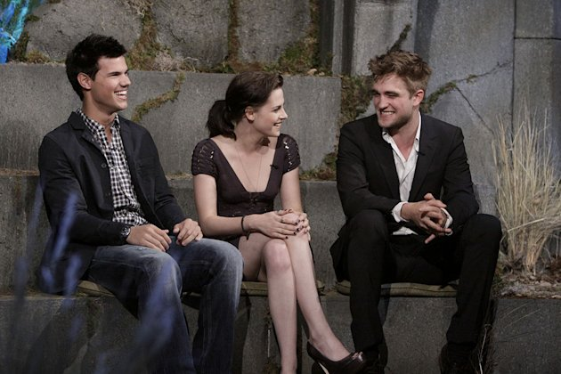 &quot;The Twilight Saga&quot; stars Robert Pattinson, Kristen Stewart, and Taylor Lautner on &quot;Jimmy Kimmel Live's Twilight Saga: Total Eclipse of the Heart.&quot; 