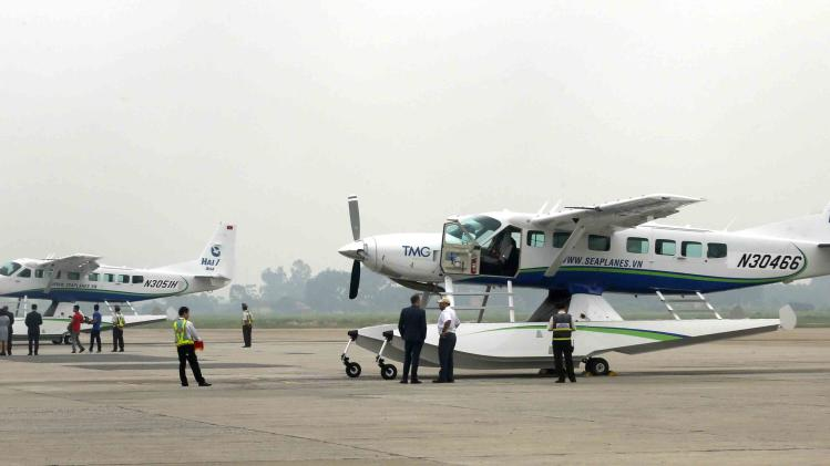 Seaplanes of Hai Au Aviation are seen after their arrival at Noi Bai airport in Hanoi