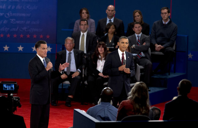 President Barack Obama, right, and Republican presidential candidate, former Massachusetts Gov. Mitt Romney, participate in the second presidential debate, Tuesday, Oct. 16, 2012, at Hofstra University in Hempstead, N.Y. (AP Photo/Carolyn Kaster)