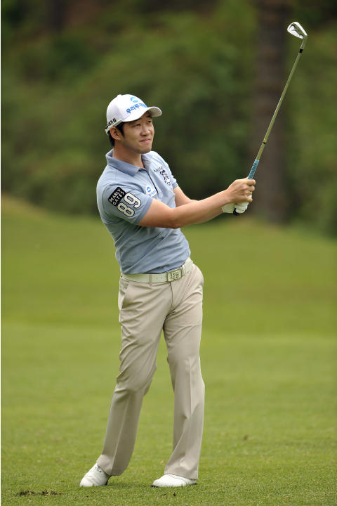 This handout photo provided by OneAsia on May 12, 2012 shows Kang Kyung-nam of South Korea during the 31st GS Caltex Maekyung Open Golf Championship at the Nam Seoul Golf and Country Club in Seoul.  T