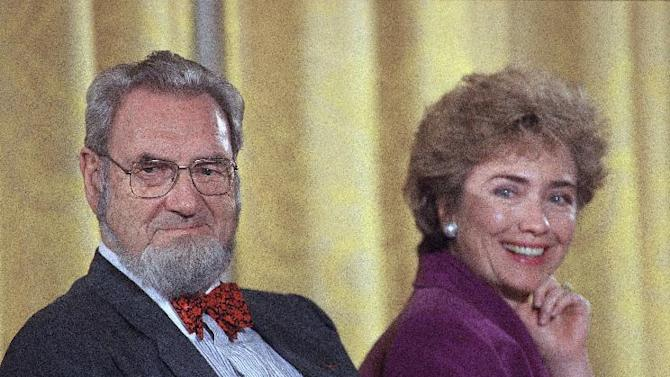 FILE - In this Oct. 1, 1993 file photo, former Surgeon Genera C. Everett Koop, left, sits with then-first lady Hillary Rodham Clinton during a meeting with more than 100 prominent doctors in the White House in Washington.  Koop, who raised the profile of the surgeon general by riveting America's attention on the then-emerging disease known as AIDS and by railing against smoking, died Monday, Feb. 25, 2013, in Hanover, N.H.  He was 96.  (AP Photo, File)