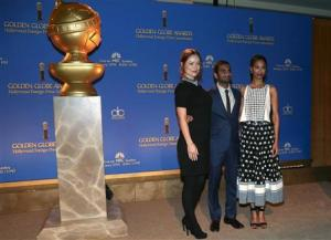 Actors Olivia Wilde, Aziz Ansari and Zoe Saldana pose at the announcement of nominations for the 71st annual Golden Globe Awards in Beverly Hills, California