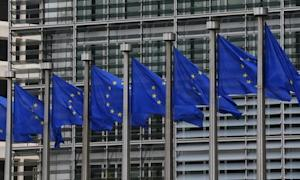 European flags are seen outside the European Commission …