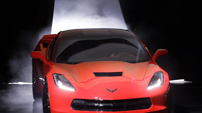 The 2014 Chevrolet Corvette Stingray debuts in Detroit, Sunday, Jan. 13, 2013. The C7 Corvette debuted before the start of the media previews at the North American International Auto Show. (AP Photo/Paul Sancya)